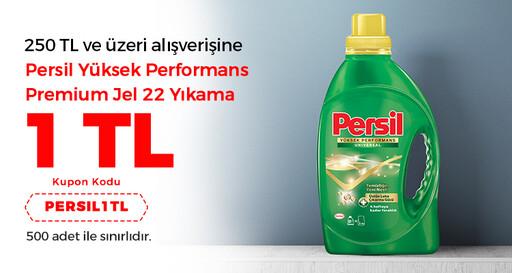 250 TL ve üzeri alışverişine Persil yüksek performans premium jel 22 yıkama 1 TL!