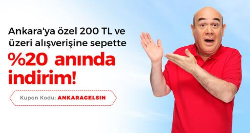 Ankara'ya Özel 200 TL ve Üzeri Alışverişine Sepette %20 İndirim