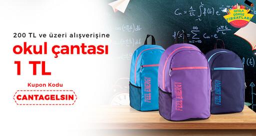 200 TL ve üzeri alışverişine okul çantası sadece 1 TL!
