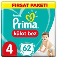 Prima Külot Bebek Bezi 4 Beden 62 Adet Maxi Fırsat Paketi