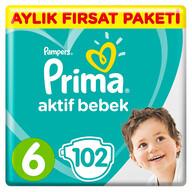 Prima Aktif Bebek 6 Beden 102 Adet Ekstra Large Aylık Fırsat Paketi