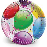 Roll-Up Rengarenk Balonlu Karton Tabak 23 cm 8'li