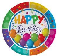Multicolour Birthday Baskılı Tabak 23 cm 8'li